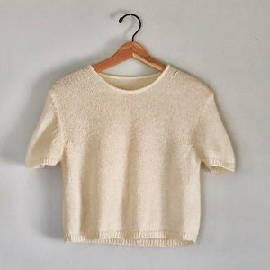 Vintage Cream Mohair Cropped Short Sleeve
